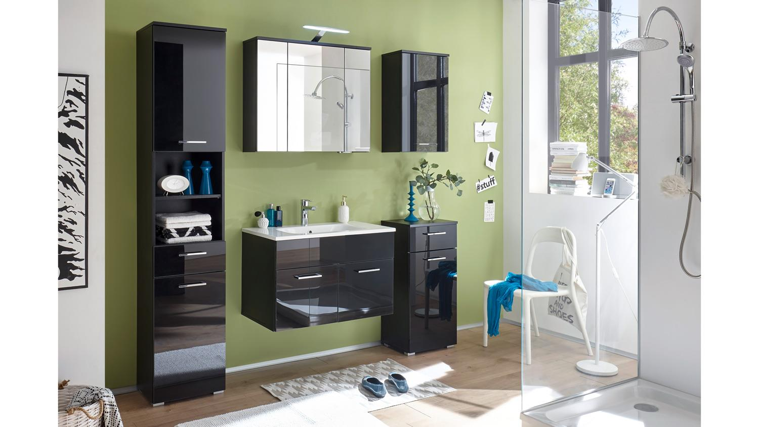 kommode denver badschrank schrank 1 t rig in schwarz mit glasfront. Black Bedroom Furniture Sets. Home Design Ideas