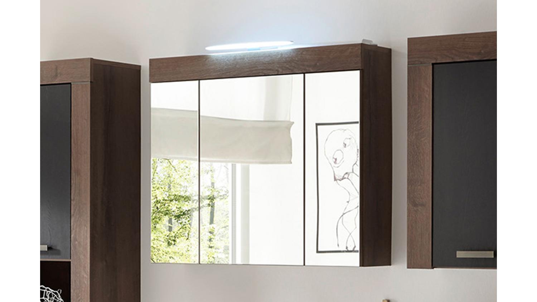 Spiegelschrank BALIN Badezimmer Schrank Canyon Eiche schwarz inkl. LED