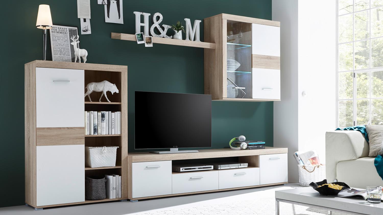 anbauwand market wohnwand sonoma eiche front wei mit led. Black Bedroom Furniture Sets. Home Design Ideas