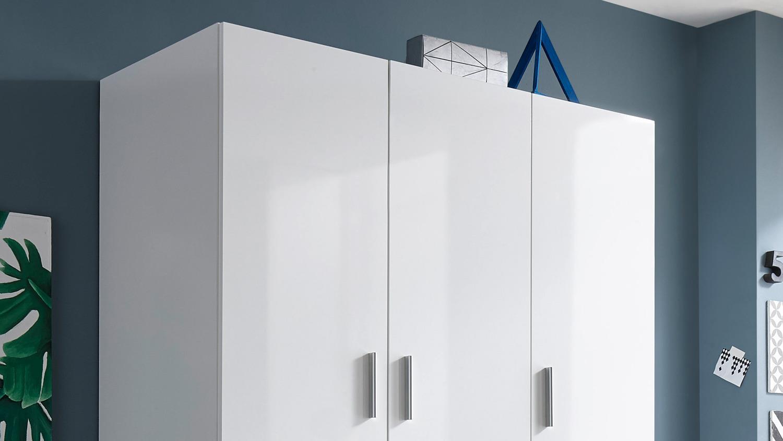 Kleiderschrank weiß hochglanz 2 türig  Kleiderschrank HAGEN Drehtürenschrank 3-türig weiß Hochglanz 135 cm