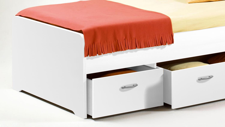 kojen bett boro jugendbett kinderbett funktionsbett in wei 90x200 cm. Black Bedroom Furniture Sets. Home Design Ideas