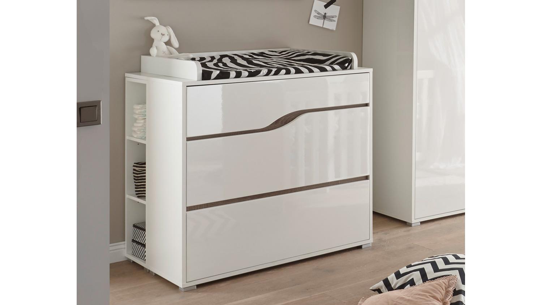 wickelkommode marra kommode mdf wei hochglanz eiche sonoma tr ffel. Black Bedroom Furniture Sets. Home Design Ideas