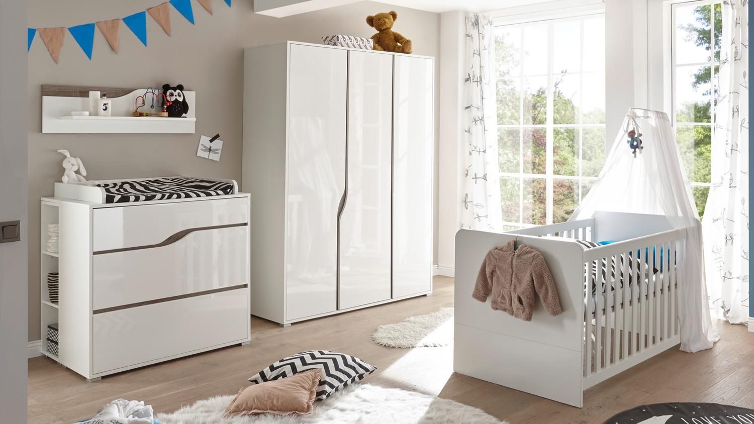 babyzimmer 1 marra 3 teilig mdf wei hochglanz eiche sonoma tr ffel. Black Bedroom Furniture Sets. Home Design Ideas