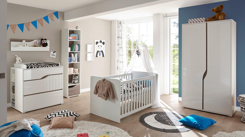 babyzimmer 2 marra 3 teilig mdf wei hochglanz eiche sonoma tr ffel. Black Bedroom Furniture Sets. Home Design Ideas