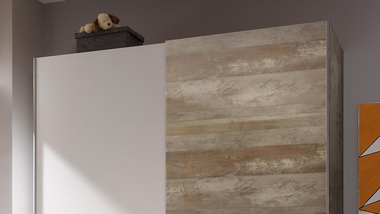 Schwebetürenschrank Victor 2 Schrank 2 Trg Driftwood Und Weiß 170 Cm