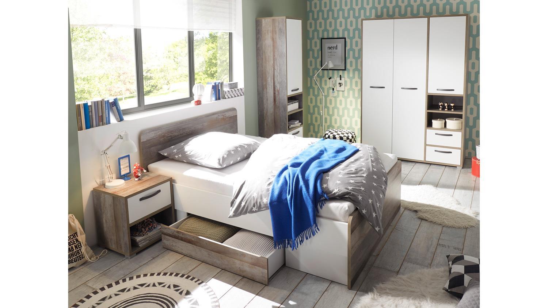 Jugendzimmer MOON Kinderzimmer Komplett Set Driftwood weiß 3-teilig