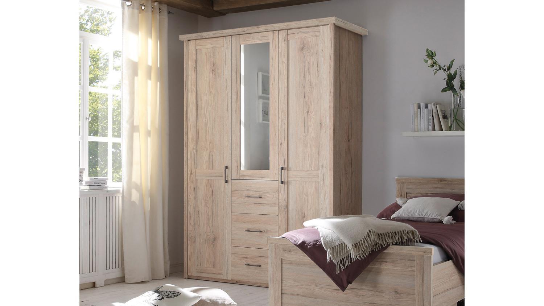 kleiderschrank luca schrank 3 t rig eiche san remo mit spiegel 150 cm. Black Bedroom Furniture Sets. Home Design Ideas