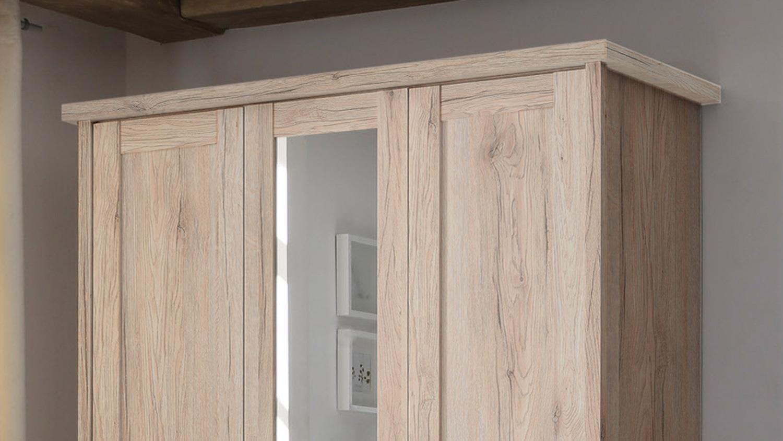 Kleiderschrank Luca Schrank 3 Turig Eiche San Remo Mit Spiegel 150 Cm