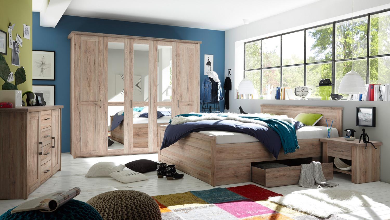 Schlafzimmer luca komplett set eiche san remo inkl for Schlafzimmer komplett set