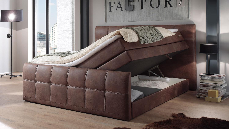 Boxspringbett ASPEN Bett Schlafzimmer hell braun 180x200