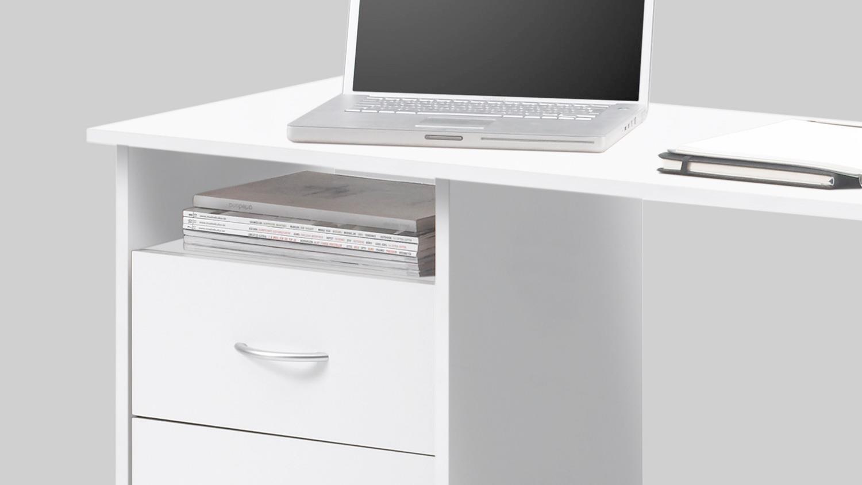 Schreibtisch adria computertisch b rotisch pc tisch wei for Schreibtisch 2 50 meter