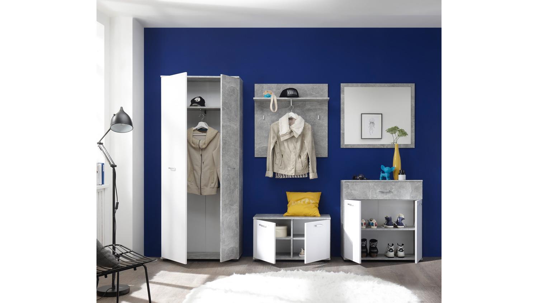 garderoben set well schrank bank spiegel paneel kommode beton und wei. Black Bedroom Furniture Sets. Home Design Ideas