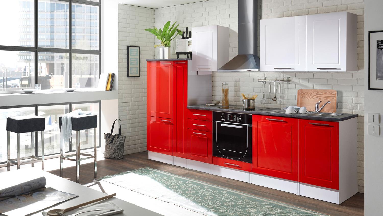 Küche Welcome Küchenzeile Rot Und Weiß Hochglanz Matt Und