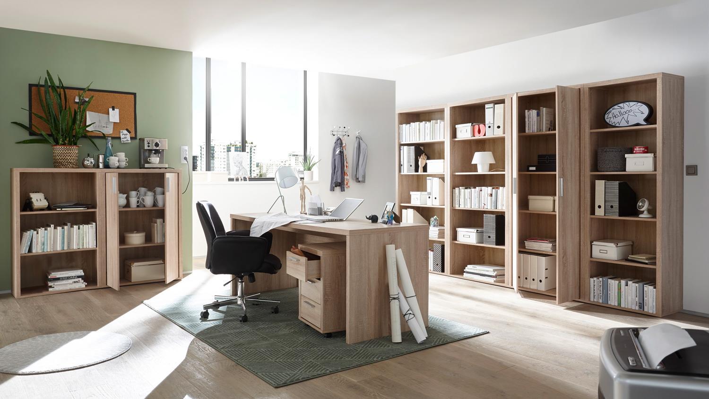 Büroset 8-teilig Fact Büromöbel Home-Office Regal Schrank Sonoma Eiche