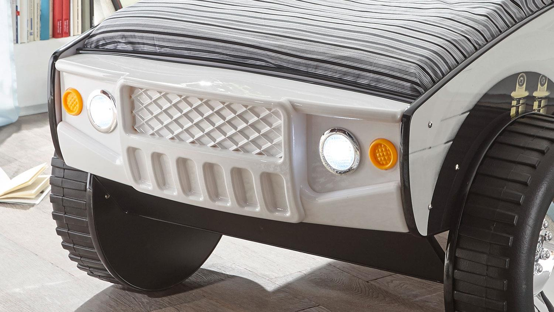 Autobett SUV mit LED Kinderbett Abenteuerbett weiß 90x200