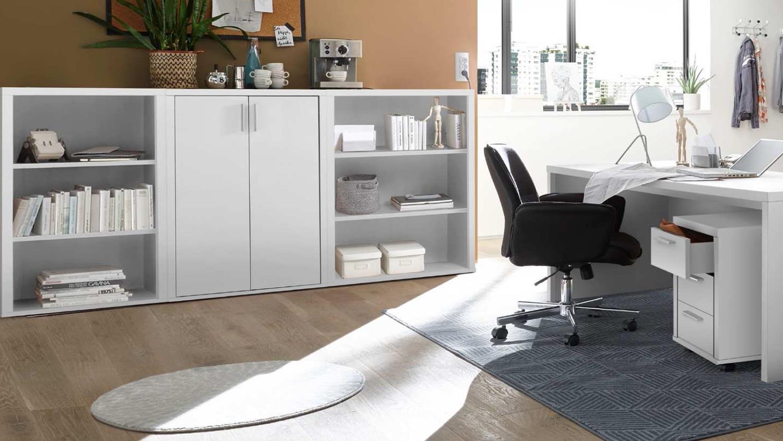 Büroset 8 Teilig Fact Büromöbel Regal Schrank Schreibtisch In Weiß