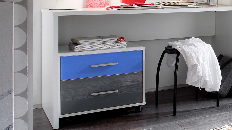 Jugendzimmer 5 teilig colori in wei und glas blau grau - Jugendzimmer grau weiay ...