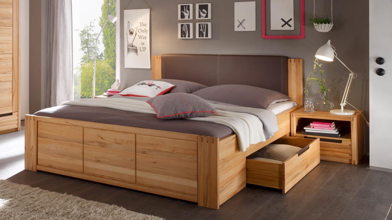 Bettanlage Schlafzimmer COLORADO Doppelbett Kernbuche teilmassiv