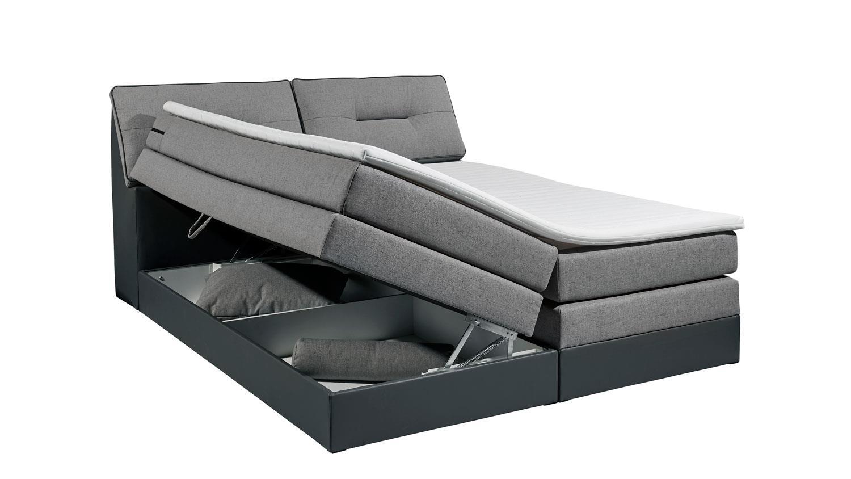 boxspringbett ottawa 2 bett grau 7 zonen topper bettkasten 180x200 cm. Black Bedroom Furniture Sets. Home Design Ideas