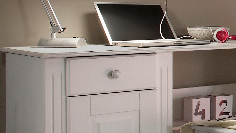 Schreibtisch Jugendzimmer LAURA Kiefer massiv weiß