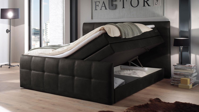 Boxspringbett ASPEN Bett Schlafzimmer anthrazit 180x200