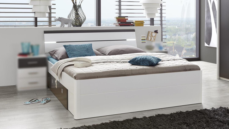 bettgestell mars wei lava 160x200 cm mit beleuchtung. Black Bedroom Furniture Sets. Home Design Ideas