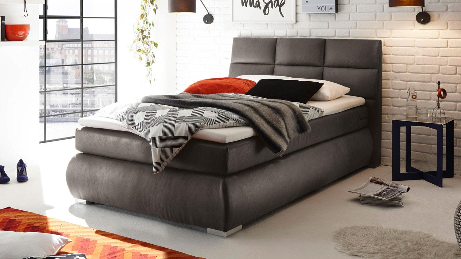 boxspringbett kosali 2 einzelbett bett grau 140x200 cm. Black Bedroom Furniture Sets. Home Design Ideas