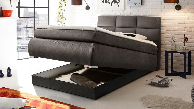 boxspringbett kosali 2 einzelbett bett grau 140x200 cm. Black Bedroom Furniture Sets. Home Design Ideas
