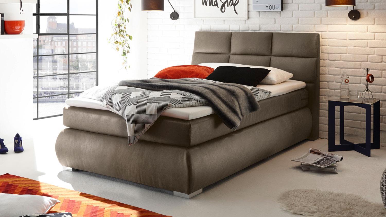 boxspringbett kosali 2 einzelbett bett in stone 140x200. Black Bedroom Furniture Sets. Home Design Ideas