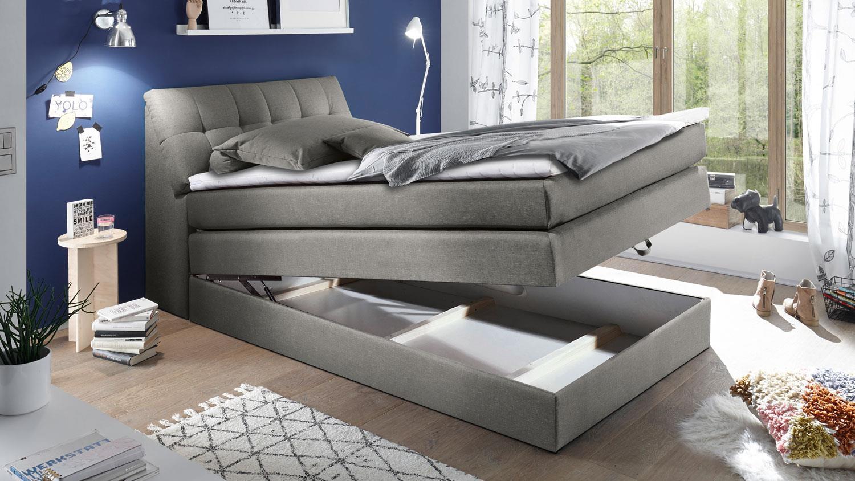 boxspringbett space einzelbett bett in grau 180x200 cm. Black Bedroom Furniture Sets. Home Design Ideas
