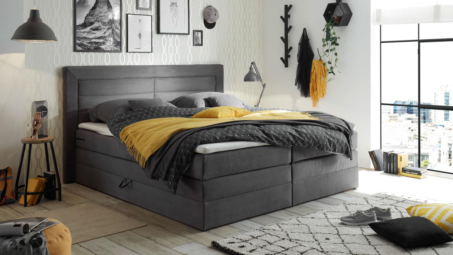 boxspringbett saba polsterbett bett in grau 180x200 cm. Black Bedroom Furniture Sets. Home Design Ideas