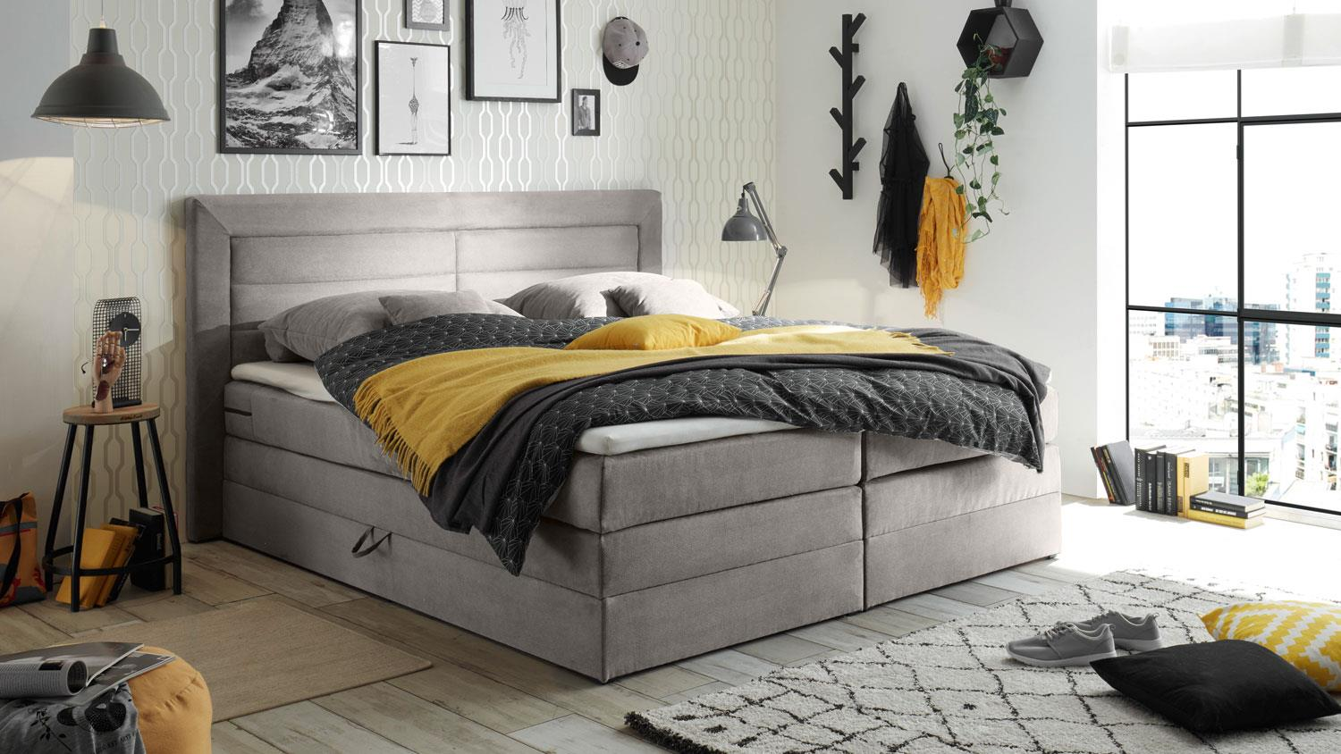boxspringbett saba polsterbett elephant grau 180x200 cm. Black Bedroom Furniture Sets. Home Design Ideas
