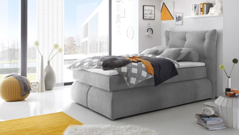 boxspringbett madison in grau mit visco topper 140x200. Black Bedroom Furniture Sets. Home Design Ideas
