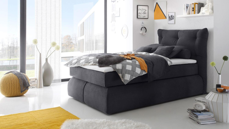 boxspringbett madison anthrazit mit visco topper 140x200. Black Bedroom Furniture Sets. Home Design Ideas