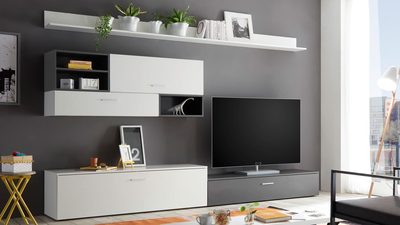 Wohnwand NEW VISION 6 Wohnzimmer Anbauwand weiß und grau