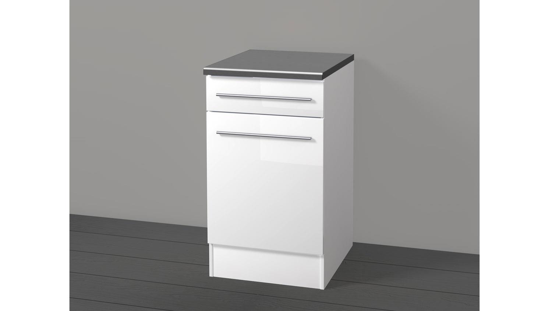 Küchen Unterschrank JAZZ 2 50 cm Front weiß Hochglanz