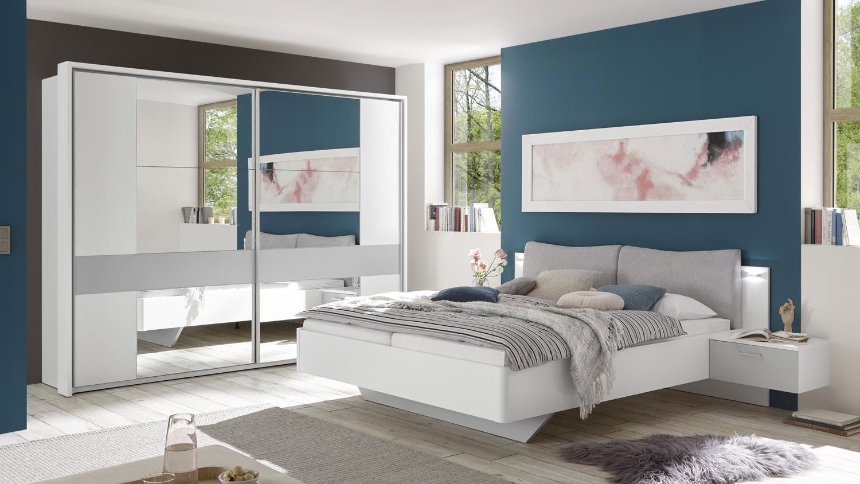 Schlafzimmer Set BRISTOL 2-tlg. weiß grau Bett Schrank