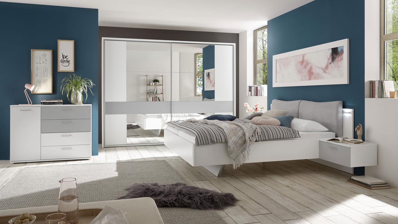 Schlafzimmer BRISTOL 3tlg weiß grau Bett Schrank Kommode