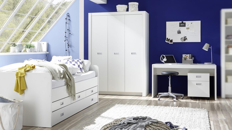 Jugendzimmer Alaska 3 Tlg Weiss Schrank Bett Schreibtisch