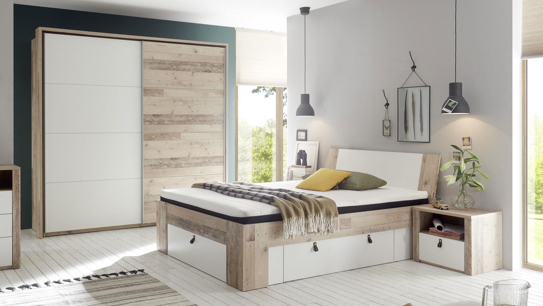 Schlafzimmer Set CARDIFF 3-tlg. Old Style weiß 140x200