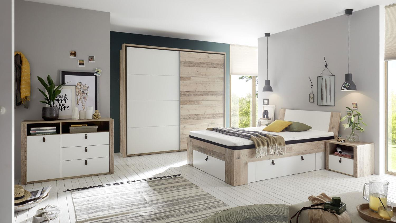 Schlafzimmer Set CARDIFF 4-tlg. Old Style weiß 140x200