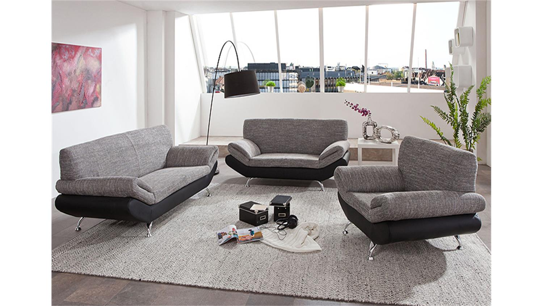 3 2 1 garnitur parma schwarz grau magma. Black Bedroom Furniture Sets. Home Design Ideas
