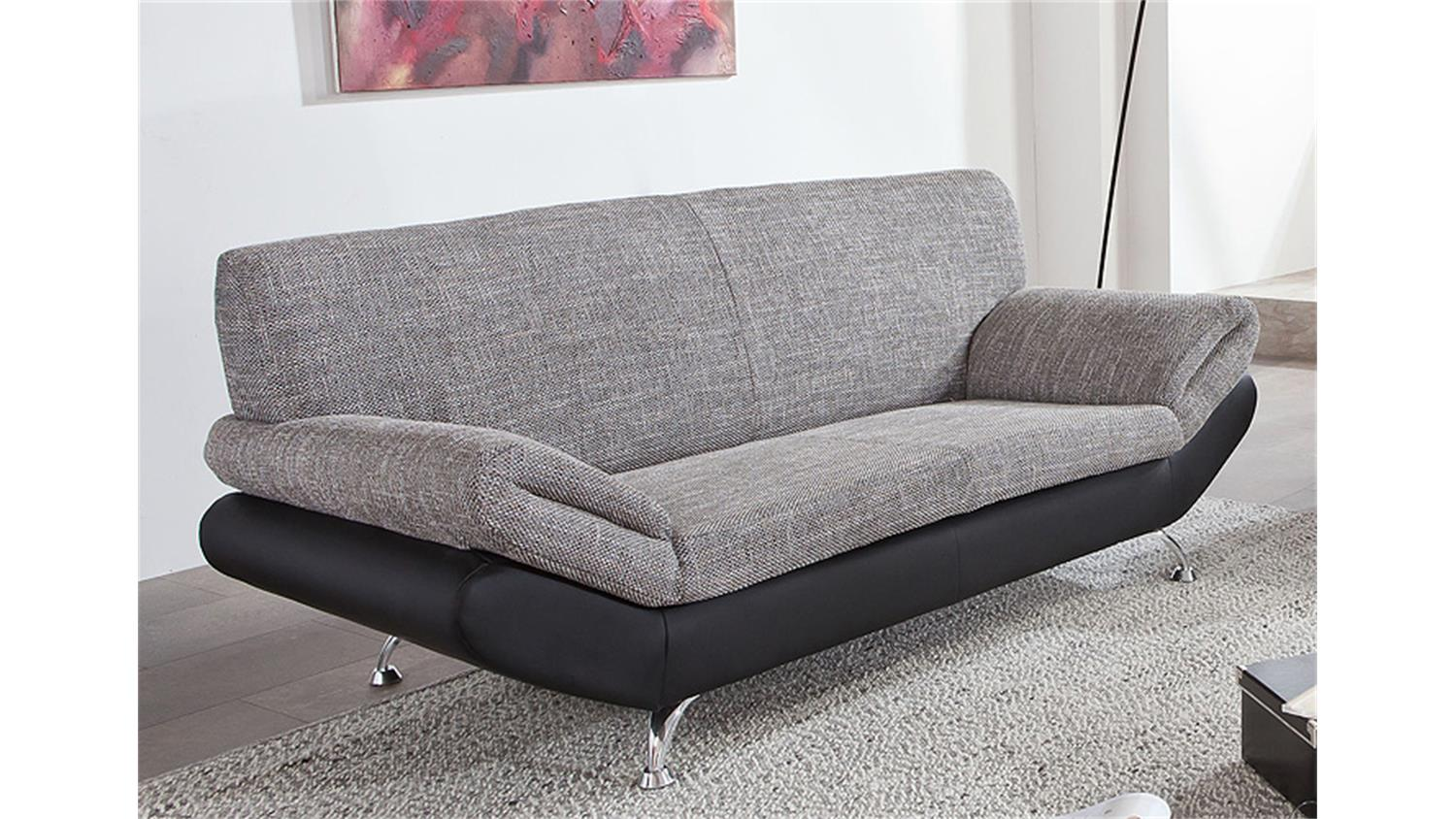 3er sofa parma schwarz grau magma 184 cm. Black Bedroom Furniture Sets. Home Design Ideas
