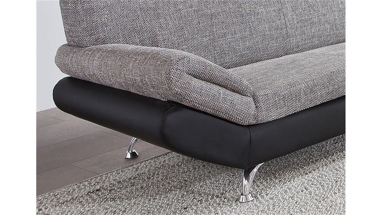 3er sofa parma schwarz grau magma 184 cm. Black Bedroom Furniture Sets. Home Design Ideas