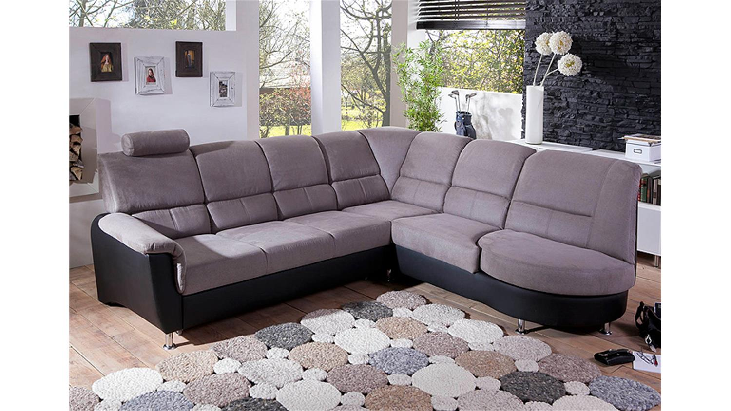 ecksofa pisa eckgarnitur l sofa grau schwarz bettfunktion kopfst tze. Black Bedroom Furniture Sets. Home Design Ideas