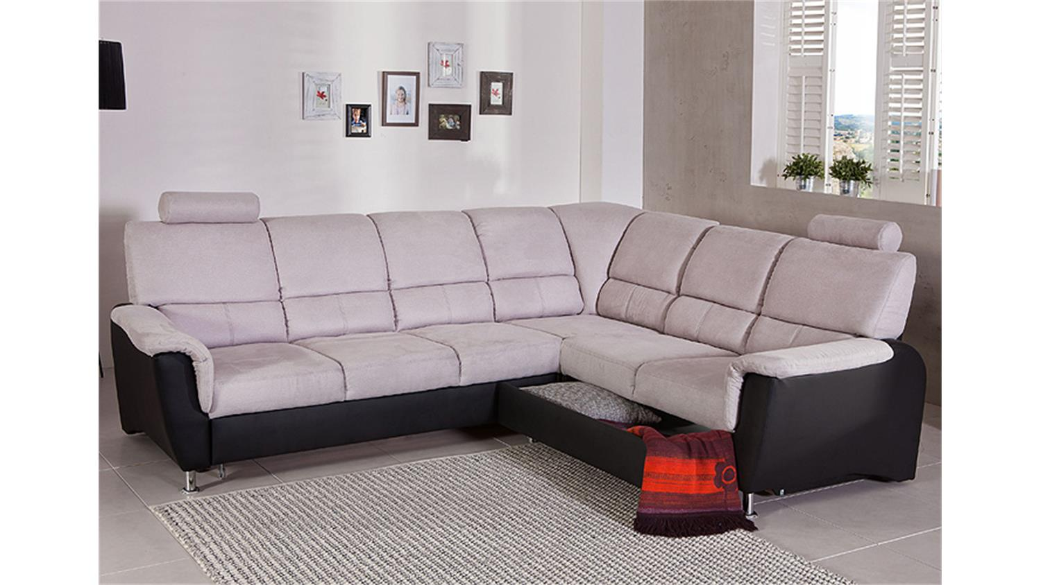 ecksofa pisa eckgarnitur l sofa grau schwarz bettfunktion kopfst tzen. Black Bedroom Furniture Sets. Home Design Ideas