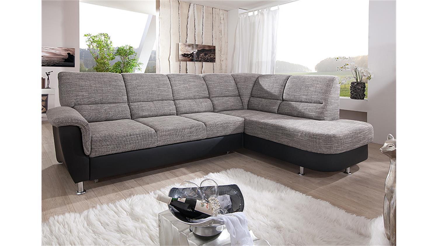 ecksofa pisa sofa stoff grau schwarz mit bettfunktion. Black Bedroom Furniture Sets. Home Design Ideas