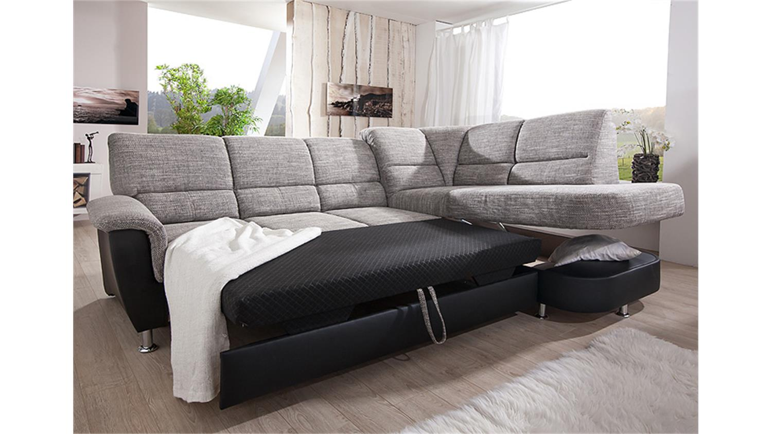 ecksofa pisa eckgarnitur l sofa grau schwarz bettfunktion bettkasten. Black Bedroom Furniture Sets. Home Design Ideas