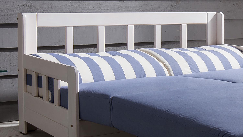 Schlafsofa Kampus Sofa 2 Sitzer Stoff Blau Weiss Liegefunktion 154 Cm