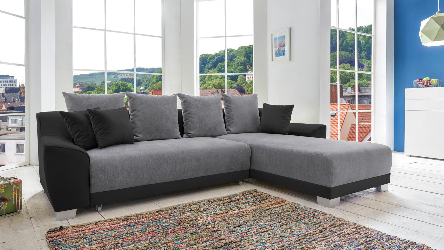 Ecksofa marida stoff schwarz anthrazit inkl bettfunktion for Stoff ecksofa